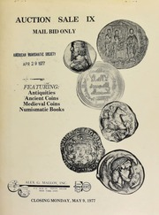 Auction sale IX : mail bid only, featuring : antiquities, ancient coins, medieval coins, numismatic books. [05/09/1977]