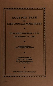 Auction sale of rare coins and paper money. [12/17/1932]