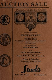Auction sale of rare coins from the collection of Wilfred Schaeppi ... [11/18-19/1938]