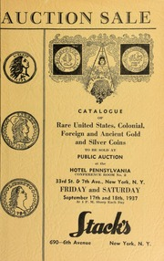 Auction sale of rare coins and paper money : embracing consignments from several prominent collectors ... [09/17/1937]