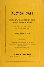 Auction sale : United States and foreign coins, medals and paper money ... [03/07/1942]