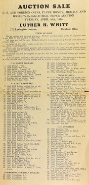 Auction sale : U.S. and foreign coins, paper money, medals and books, to be sold at mail order auction ... [04/30/1940]
