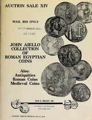 Auction sale XIV, mail bid only : John Aiello Collection of Roman Egyptian coins, also: antiquities, Roman coins, medieval coins. [07/02/1979]