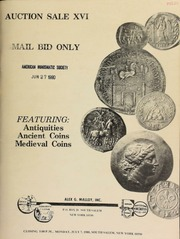 Auction sale XVI : mail bid only, featuring : antiquities, ancient coins, medieval coins. [07/07/1980]
