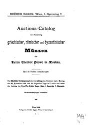 Auctions-catalog der Sammlung griechischer, römischer und byzantinischer Münzen des Herrn ...