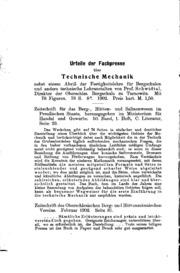 Aufgaben-sammlung zur technischen Mechanik und Festigkeitslehre für Bergschulen und andere ...