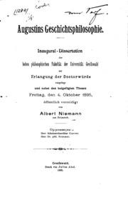 Augustins Geschichtsphilosophie: Inaug.-diss