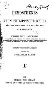 Ausgewählte Reden: Für den Schulgebrauch erklärt von C. Rehdantz unf F. Blass