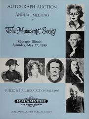 Autograph Auction, Annual Meeting of the Manuscript Society