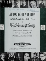Autograph Auction Annual Meeting of the Manuscript Society