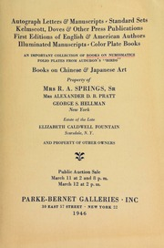 Autograph letters and manuscripts, [etc.] ... an important collection of books on numismatics, [etc.] ... property of Mrs. R.A. Springs, Sr.; Mrs. Alexander D.B. Pratt; George S. Hellman, New York; estate of the late Elizabeth Caldwell Fountain, Scarsdale, N.Y. ... [03/11-12/1946]