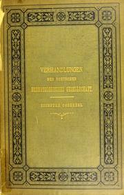 Verhandlungen der Deutschen Dermatologischen Gesellschaft : sechster Congress im Auftrage der Gesellschaft