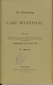 Zur Erinnerung an Carl Westphal : Rede...