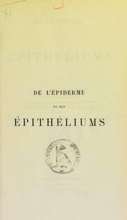 De l-épiderme et des épithéliums