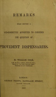 Remarks read before a sub-committee appointed to consider the question of provident dispensaries