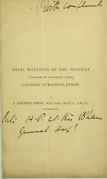 Where Can I Donate A Testicle >> Axial rotation of the testicle (torsion of spermatic cord ...