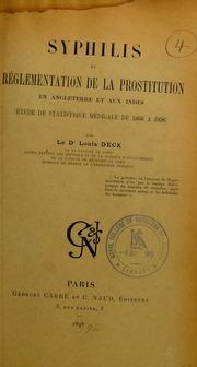 Syphilis et réglementation de la prostitution en Angleterre et aux Indes : étude de statistique médicale de 1866 à 1896