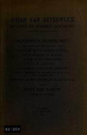 Johan van Beverwijck, in leven en werken geschetst. Thesis