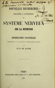Nouvelles recherches relatives à l-influence du système nerveux sur la nutrition. Dissertation inaugurale présentée à la faculté de Médecine de Berne ...