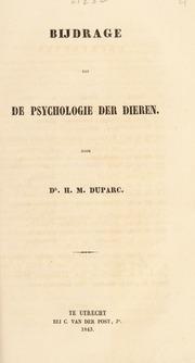 Bijdrage tot der psychologie der dieren