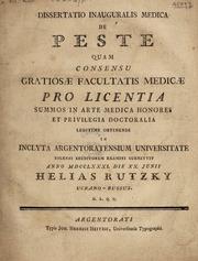 Dissertatio inauguralis medica de peste