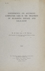 Experiments on antimony compounds used in the treatment of Bilharzia disease and kala-azar