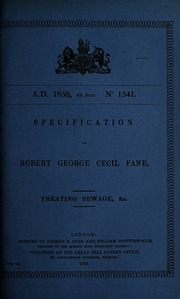 Specification of Robert George Cecil Fane : treating sewage, &c
