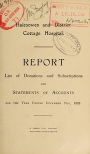 Report . Statement of accounts and lists of donations and subscriptions : 1928