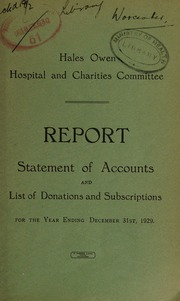 Report . Statement of accounts and lists of donations and subscriptions : 1929