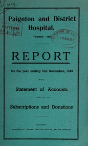 Report with statement of accounts and list of subscriptions and donations : 1943
