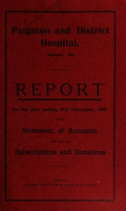 Report with statement of accounts and list of subscriptions and donations : 1945