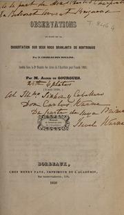Observations au sujet de la dissertation sur deux rocs branlants du Nontronais par M. Charles des Moulins