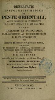 Dissertatio inauguralis medica de peste orientali