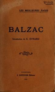Balzac ; introduction de Ch. Défossez