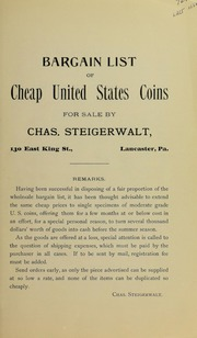 Bargain List of Cheap United States Coins, 1905