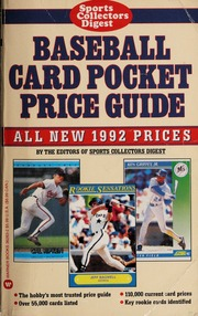 Baseball Card Pocket Price Guide All New 1992 Prices None Free
