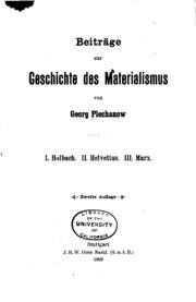 Beiträge zur Geschichte des Materialismus