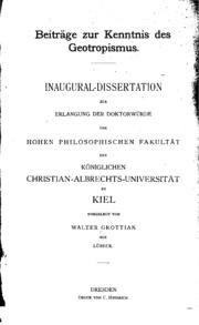 Beiträge zur konntnis des Geotropismus ..