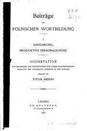 Beiträge zur polnischen Wortbildung