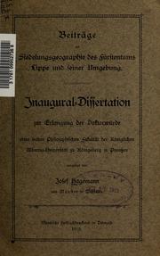 Beiträge zur Siedelungsgeographie des Fürstentums Lippe und seiner Umgebung