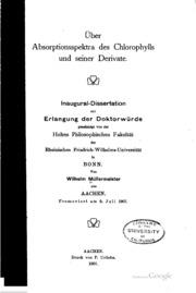 Über absorptionsspektra des chlorophylls und seiner derivate ..