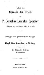 Briefe Cicero : Über die sprache der briefe des p cornelius lentulus