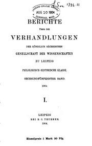 Vol 56-57: Berichte über die Verhandlungen der Königlich sächsischen Gesellschaft der Wissenschaften zu Leipzig
