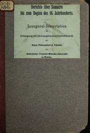Berichte über Sumatra bis zum beginn des 16. jahrhunderts ... von Johannes Kowal ...