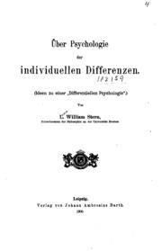 Über Psychologie der individuellen Differenzen: Ideen zu einerdifferentiellen Psychologie