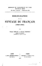Bibliographie de la syntaxe du français 1840-1905