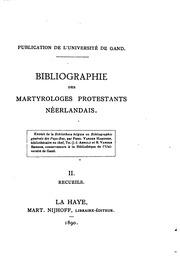 Bibliographie des martyrologes Protestants Néerlandais