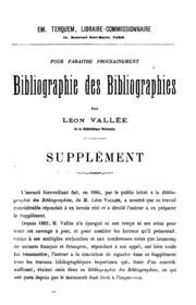 Bibliographie des bibliographies. With: Supplément