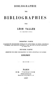 Bibliographie des bibliographies: supplement