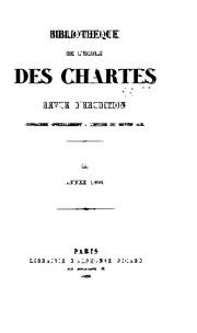 Bibliothèque de lÉcole des chartes
